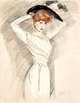 An Elegant Woman Wearing a hat by Paul Cesar Helleu