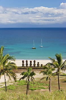 Anakena Beach, Yachts Moored In Front by Gavin Hellier / Robertharding
