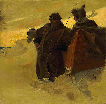 And Looked Out Beyond the Tumbled Shore Ice to the Steel-Gray Angry Waters by Newell Convers Wyeth