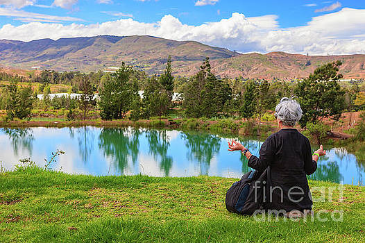 Andes Mountains - Senior Colombian Lady In Meditation by Devasahayam Chandra Dhas