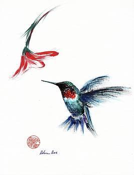 ANGEL - Mixed media hummingbird painting/drawing by Rebecca Rees
