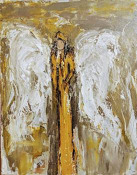 Angel with a yellow rose by Jennifer Nease