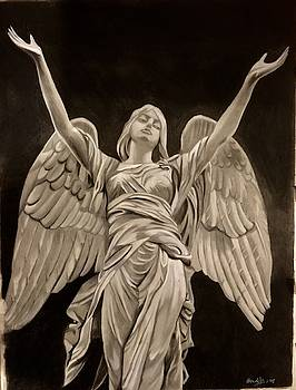 Angel with uplifting arms by Rhondda Saunders