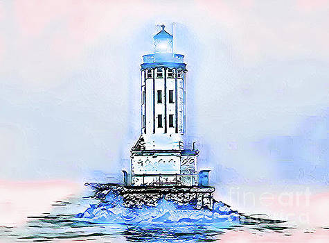 Angels Gate Lighthouse Blue/White Theme by Joe Lach