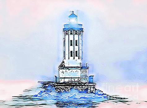 Angels Gate Lighthouse Blue/White Theme by Joe Lach
