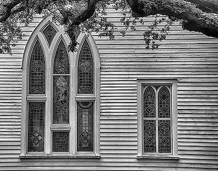 Ann St. Methodist Church Stained Glass BW by Debby Richards