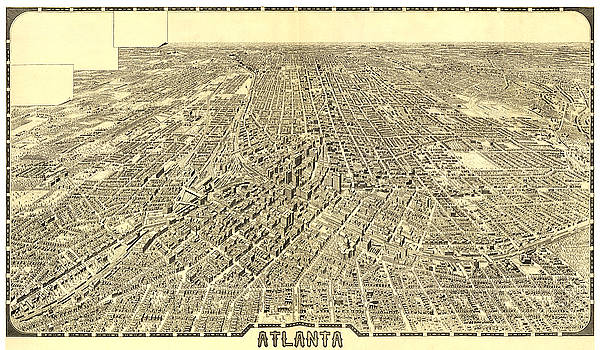 Antique Bird's Eye View Map of Atlanta, Georgia - Old Cartographic Map - Antique Maps by Siva Ganesh