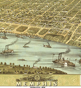 Antique Bird's Eye View Map of Memphis, Tennessee - Old Cartographic Map - Antique Maps by Siva Ganesh