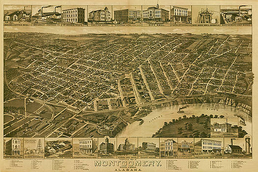 Antique Bird's Eye View Map of Montgomery, Alabama - Old Cartographic Map - Antique Maps by Siva Ganesh