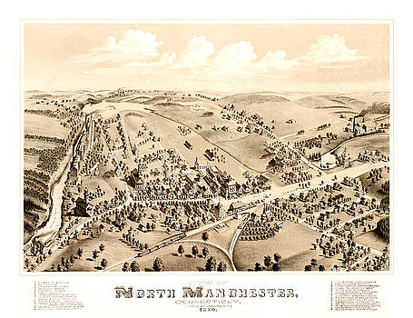 Antique Bird's Eye View Map of North Manchester, Connecticut - Old Cartographic Map - Antique Maps by Siva Ganesh