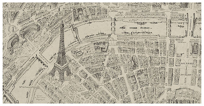 Antique Bird's Eye View Map of Paris - Old Cartographic Map - Antique Maps by Siva Ganesh