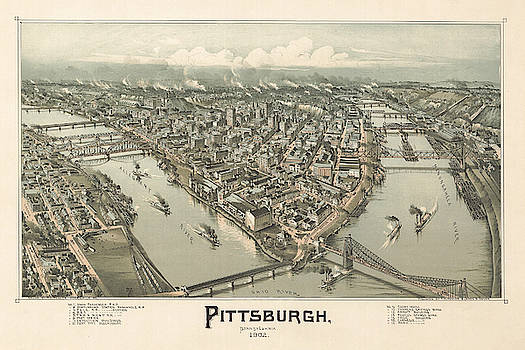 Antique Bird's Eye View Map of Pittsburgh, Pennsylvania - Old Cartographic Map - Antique Maps by Siva Ganesh