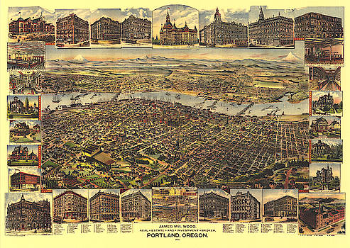 Antique Bird's Eye View Map of Portland, Oregon - Old Cartographic Map - Antique Maps by Siva Ganesh