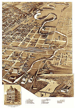 Antique Bird's Eye View Map of the City of Sioux, Lowa - Old Cartographic Map - Antique Maps by Siva Ganesh