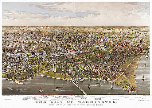 Antique Bird's Eye View Map of the City of Washington - Old Cartographic Map - Antique Maps by Siva Ganesh