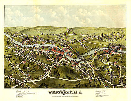 Antique Bird's Eye View Map of Westerly, Rhode Island - Old Cartographic Map - Antique Maps by Siva Ganesh