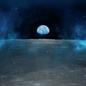 Apollo 11 Mission View Of Moon Limb With Earth On The Horizon by Johanna Hurmerinta