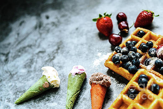 Appetizing ice cream with fruits and waffles, the ideal snack in by Joaquin Corbalan