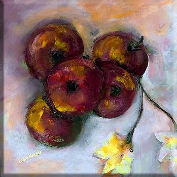 Apple and Floral Painting by Lisa Kaiser