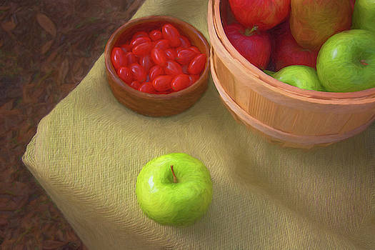 Apples and Grape Tomatoes - Outdoor Still Life Painting by Mitch Spence