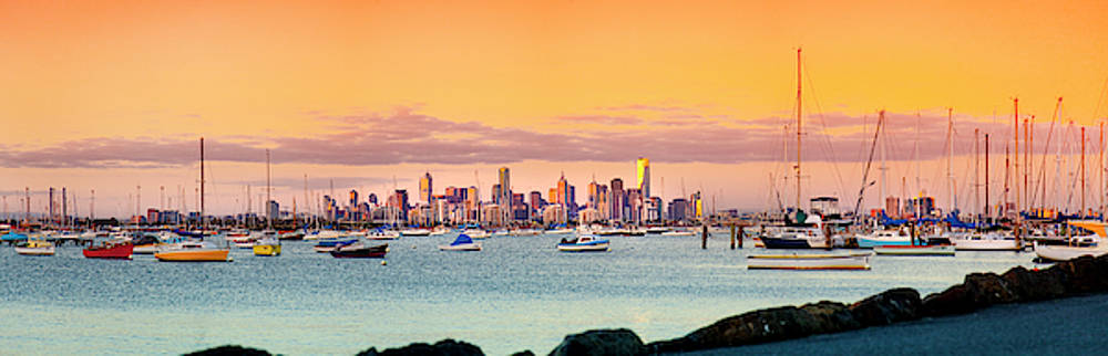 Apricot Pastels Over Melbourne by Sean Davey