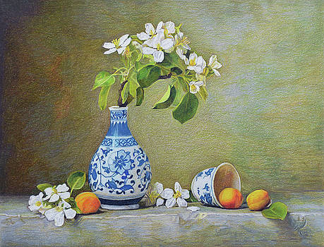 Apricots And Apple Flowers by Paramjeet Kaur