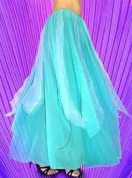 Sofia Metal Queen - Aqua bicolor chiffon skirt from Ameynra collection 4