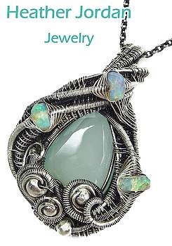 Aqua Chalcedony Wire-Wrapped Pendant in Antiqued Sterling Silver with Ethiopian Welo Opals by Heather Jordan