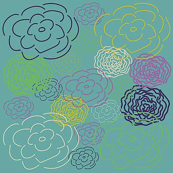 Aqua Flower Blooms by Lisa Blake