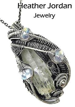 Aquamarine Crystal Wire-Wrapped Pendant in Antiqued Sterling Silver with Rainbow Moonstone by Heather Jordan