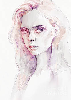 Dimitar Hristov - Aquarelle portrait of a girl