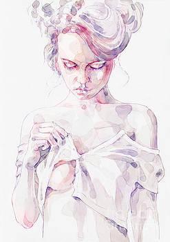 Dimitar Hristov - Aquarelle sensual portrait of a girl