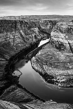 Arizona's Horseshoe Bend River Landscape in Black and White by Gregory Ballos