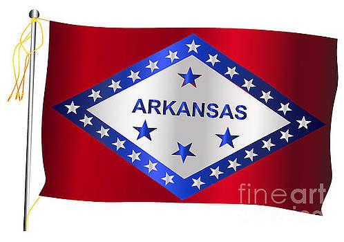 Arkansas State Waving Flag And Flagpole by Bigalbaloo Stock