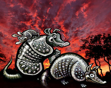 Armadillos Family at Sunset by Kevin Middleton