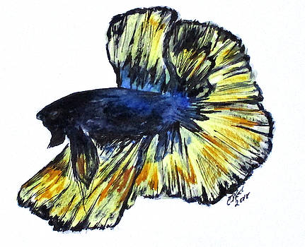 Art Doodle No.34 Betta Fish by Clyde J Kell