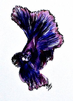Art Doodle No.35 Betta Fish by Clyde J Kell