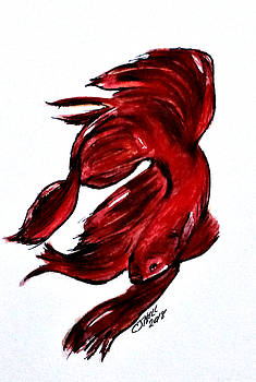Art Doodle No.36 Betta Fish by Clyde J Kell