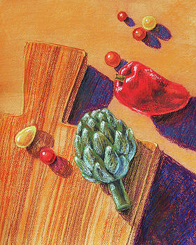 Artichoke Bell Pepper And Garden Tomatoes by Irina Sztukowski