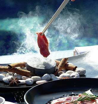 Asian food prepares on blue pool background by Webbon