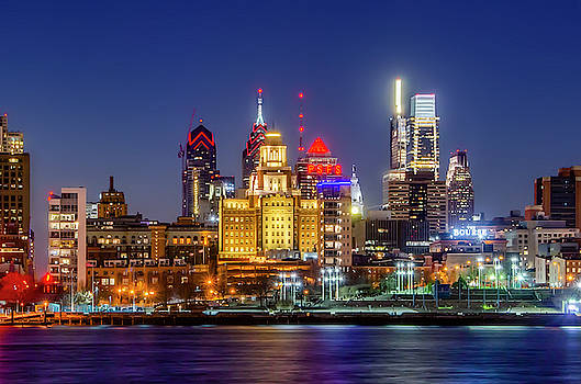 At Night on the Waterfront - Philadelphia by Bill Cannon