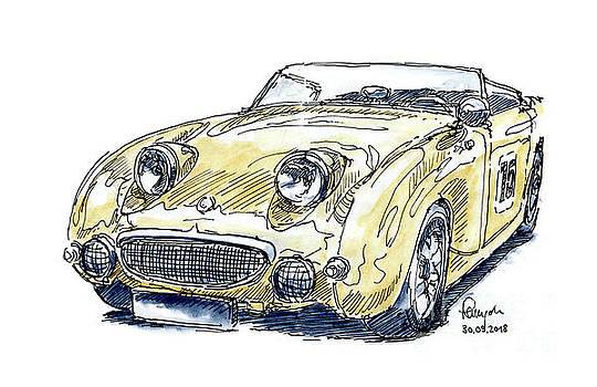 Frank Ramspott - Austin Healey Sprite MK I Classic Car Ink Drawing and Watercolor