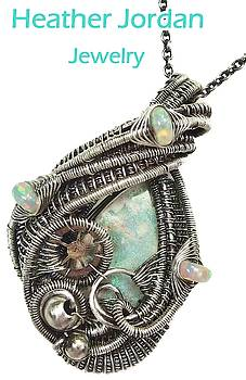 Australian Opal Wire-Wrapped Pendant in Antiqued Sterling Silver with Ethiopian Opals and Watch Gear by Heather Jordan