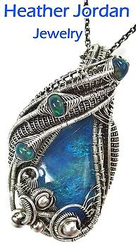 Australian Opal Wire-Wrapped Pendant in Antiqued Sterling Silver with Ethiopian Welo Opals by Heather Jordan