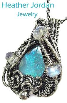 Australian Opal Wire-Wrapped Pendant in Antiqued Sterling Silver with Rainbow Moonstone by Heather Jordan