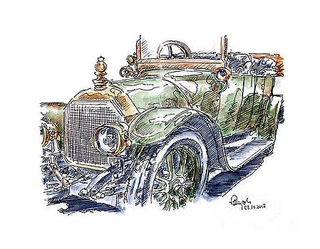 Frank Ramspott - Austro Daimler 20 HP Double Phaeton Classic Car Ink Drawing and