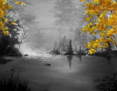 Autumn Misty Lake -Select Color by Danett Britt