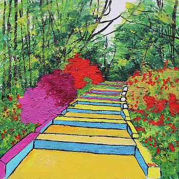 Azaleas and Yellow Stairway National Arboretum 201837 by Alyse Radenovic