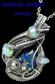 Azurite Wire-Wrapped Pendant Necklace in Antiqued Sterling Silver with Ethiopian Welo Opals by Heather Jordan
