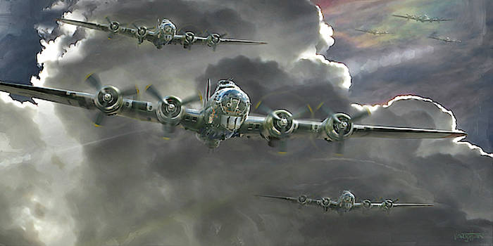 James Vaughan - B-17 Flying Fortresses gathering into formation.
